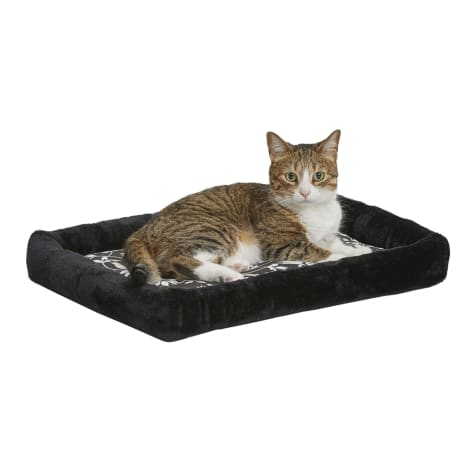 Midwest Quiet Time Couture Sofia Bolster Black Floral Dog Bed