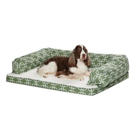 Midwest Quiet Time Defender Orthopedic Dog Sofa with Teflon Green