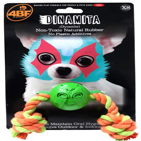 4BF Dynamite Rubber Ball With Rope Dog Toy