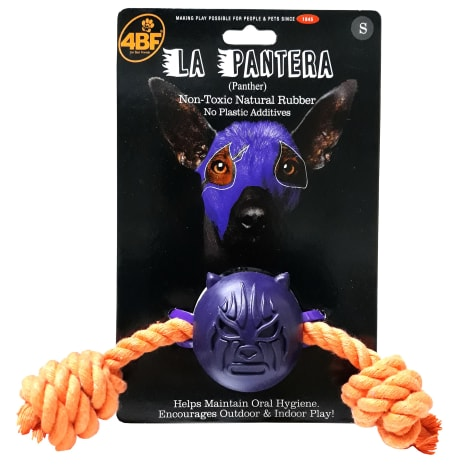 4BF Panther Rubber Ball With Rope Dog Toy
