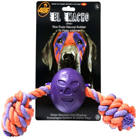 4BF Macho Rubber Ball With Rope Dog Toy
