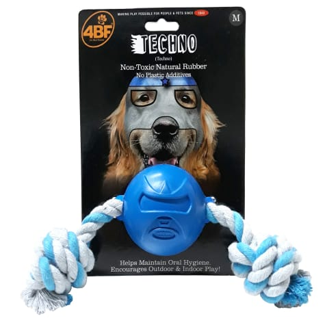 4BF Techno Rubber Ball With Rope Dog Toy
