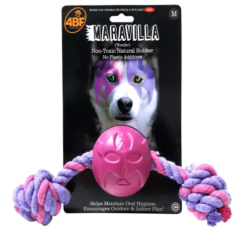 4BF Wonderer Rubber Ball With Rope Dog Toy