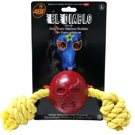 4BF Devil Rubber Ball With Rope Dog Toy