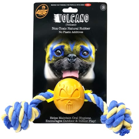 4BF Volcano Rubber Ball With Rope Dog Toy