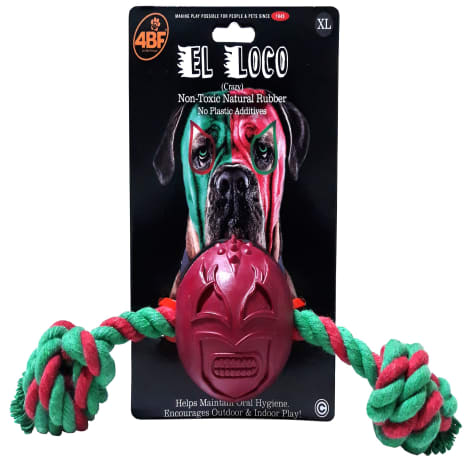 4BF Crazy Rubber Ball With Rope Dog Toy