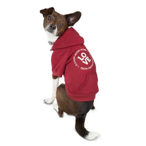 Reddy Love Is A Four-Legged Word Burgundy Dog Hoodie