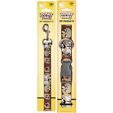 Buckle-Down Tasmanian Devil Taz Collar and Leash Set for Dogs