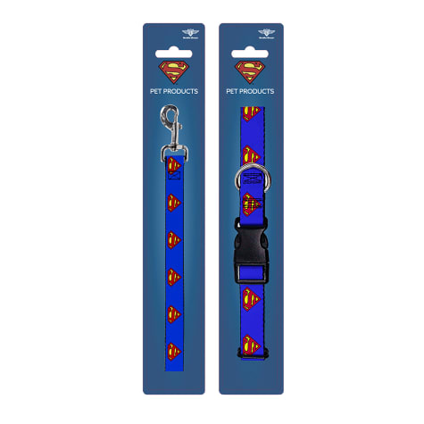 Buckle-Down Superman Blue Collar and Leash Set for Dogs