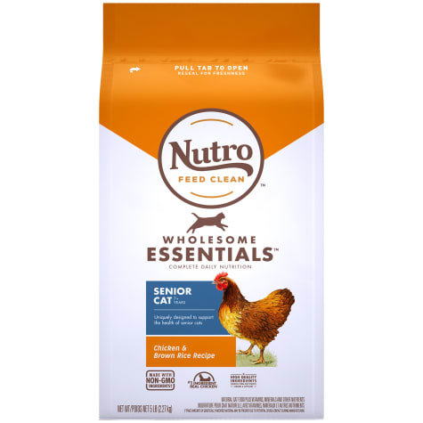 Nutro Wholesome Essentials Senior Indoor for Healthy Weight Farm-Raised Chicken & Brown Rice Recipe Dry Cat Food