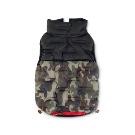 Reddy Camo Colorblock Zip-and-Stow Dog Puffer Jacket