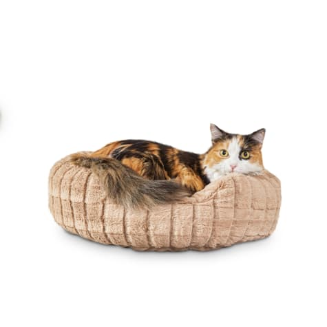 Harmony Tan Faux-Fur Cat Bed