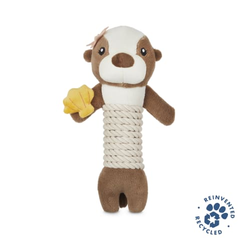 Bond & Co. Recycled & Reinvented Otter Plush & Rope Stick Dog Toy