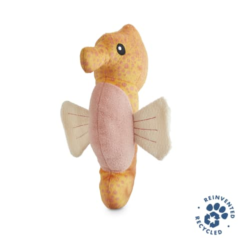 Bond & Co. Recycled & Reinvented Seahorse Plush Stick Dog Toy