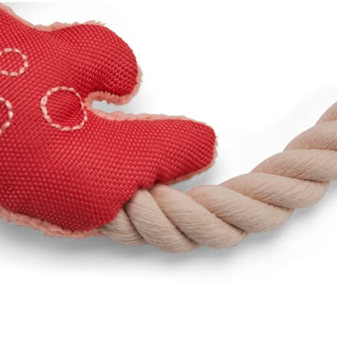 Bond & Co. Recycled & Reinvented Crab Plush Dog Toy with Rope Handle