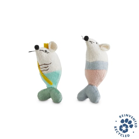 Bond & Co. Recycled & Reinvented Maritime Mouse Plush Cat Toy Set