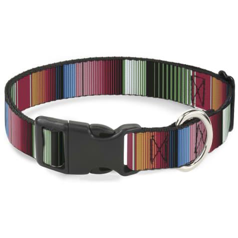 Buckle-Down Plastic Clip Collar Zarape5 Vertical Multi Color Stripe