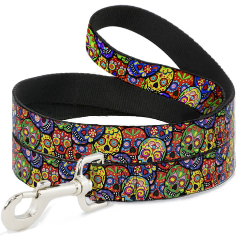 Buckle-Down Pet Leash Colorful Calaveras Stacked