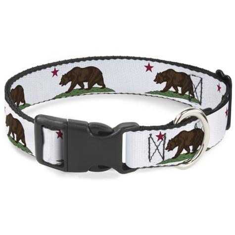 Buckle-Down Plastic Clip Collar Cali Bear White