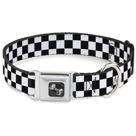 Buckle-Down Seatbelt Buckle Dog Collar Checker Black and White