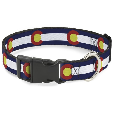 Buckle-Down Plastic Clip Collar Colorado Flags