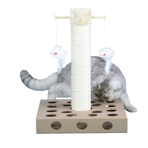 Go Pet Club Beige Cat Scratching Post with IQ Box