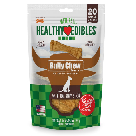 Nylabone Healthy Edibles Bully Chews Natural Made with Real Bully Stick Small Dog Treats