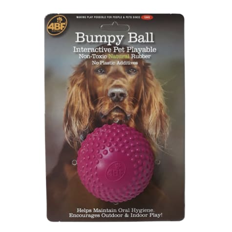4BF Natural Rubber Pink Bumpy Ball Dog Toy