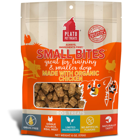 Plato Pet Small Bites Made with Organic Chicken Dog Treats