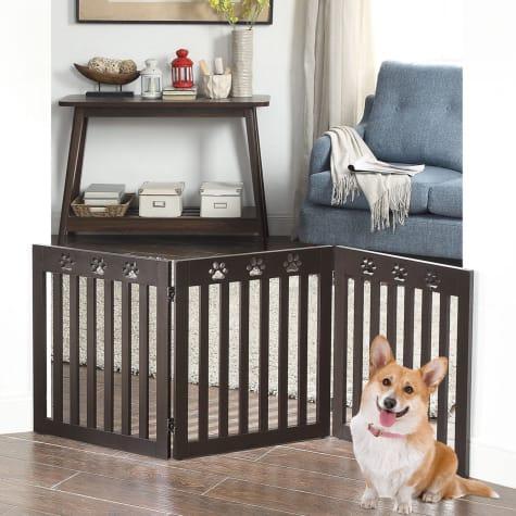 UniPaws Paw Deco 3 Panel Dog Gate Espresso Assembly-Free