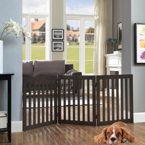 UniPaws Flat Wooden 3 Panel Dog Gate Espresso Freestanding