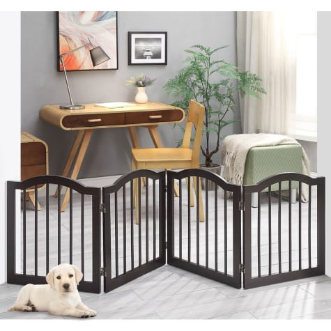 UniPaws Arched Top 4 Panel Dog Gate Espresso Freestanding