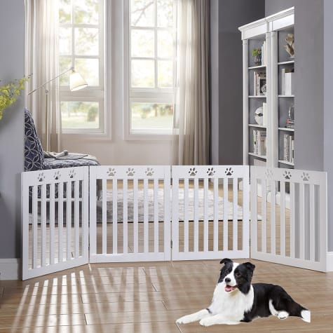 UniPaws Paw Deco 4 Panel Dog Gate White Assembly-Free