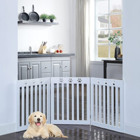 UniPaws Paw Deco 3 Panel Dog Gate White Assembly-Free