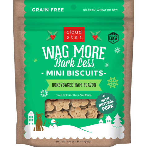 Cloud Star Wag More Bark Less Holiday Mini Biscuits Honey Baked Ham Flavor Dog Treats