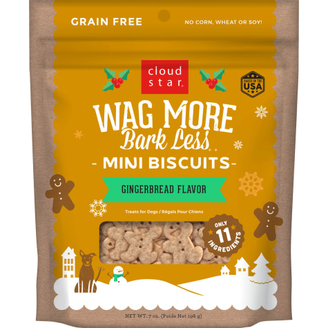 Cloud Star Wag More Bark Less Holiday Gingerbread Flavor Dog Treats