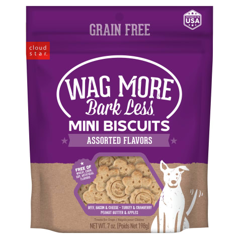 Cloud Star Wag More Bark Less Grain Free Mini Oven Baked Assorted Flavor Dog Treats