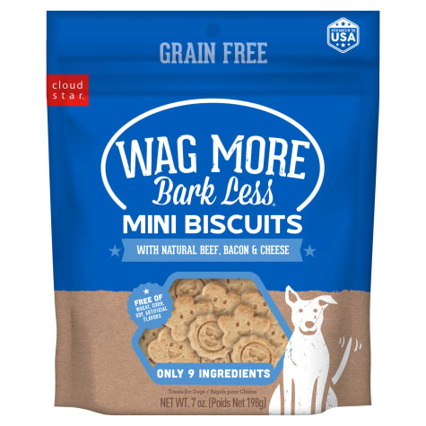 Cloud Star Wag More Bark Less Grain Free Mini Oven Baked Beef, Bacon & Cheese Flavor Dog Treats