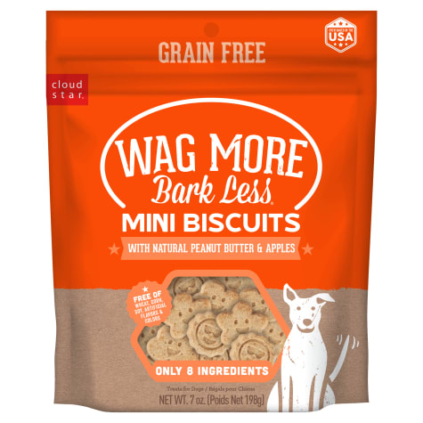Cloud Star Wag More Bark Less Grain Free Mini Oven Baked Peanut Butter & Apples Flavor Dog Treats