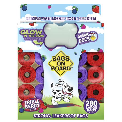 Bags on Board Waste Pickup Bags & Glow in the Dark Dispenser Combo Pack for Dogs