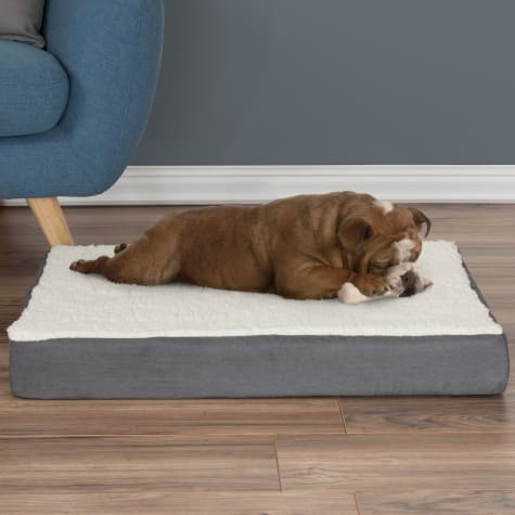 PETMAKER Orthopedic Extra Large Gray Sherpa Top Pet Bed with Memory Foam and Removable Cover