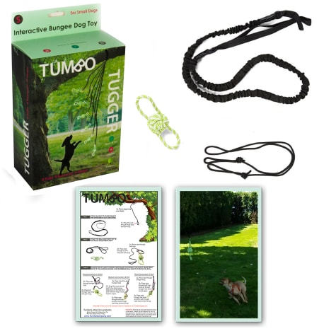 Tumbo Outdoor Tugger Hanging Bungee Powered Interactive Dog Toy