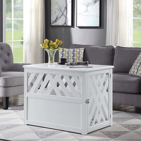 UniPaws Crossed Pet Crate End Table Dog Kennel in White