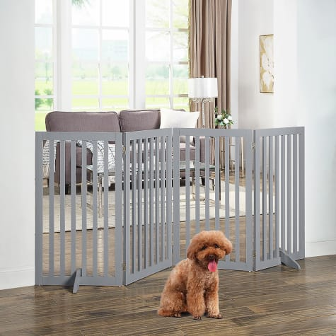 UniPaws Flat Wooden Gray Freestanding Dog Gate