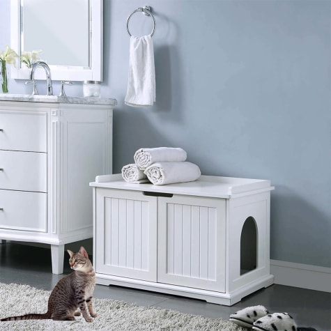 UniPaws Cat Washroom Storage Bench White, 29