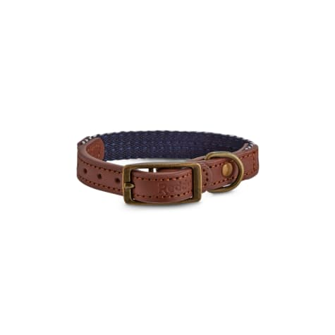 Reddy Indigo Chevron & Leather Dog Collar
