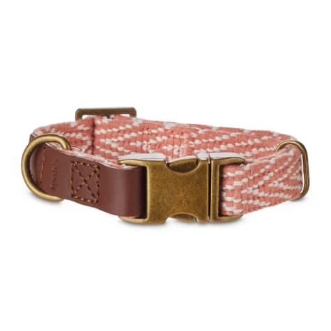 Reddy Coral Chevron & Leather Adjustable Dog Collar