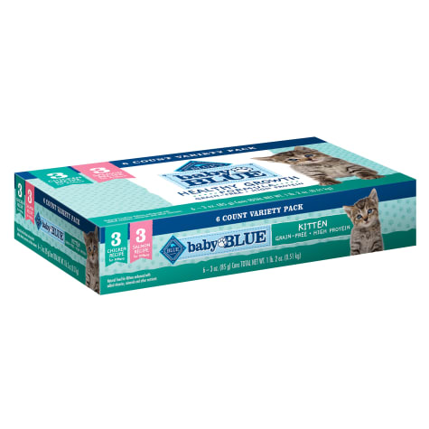 Blue Buffalo Baby Blue Healthy Growth Formula Natural Grain Free Kitten Pate Wet Food Variety Pack