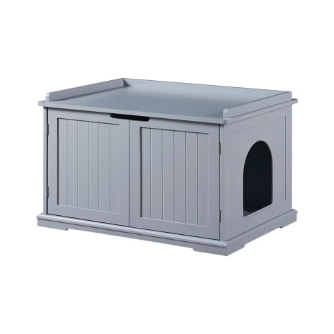 UniPaws Gray Washroom Storage Bench for Cats