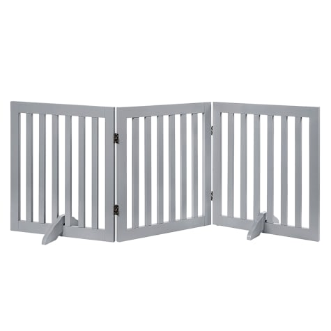 UniPaws Flat Wooden Freestanding 3 panel Gray Dog Gate